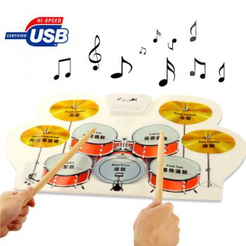 Digital Silicone USB MIDI Roll Up Flexible Musical Drum Kit